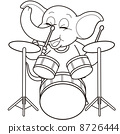 Cartoon Elephant Playing Drums 8726444
