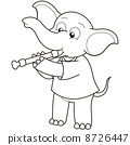 Cartoon Elephant Playing an Oboe 8726447
