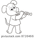 Cartoon Dog Playing an Oboe 8726466