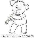 Cartoon Bear Playing a Clarinet 8726479