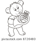 Cartoon Bear Playing a French Horn 8726480