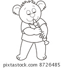 Cartoon Bear Playing an Oboe 8726485