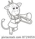 Cartoon Giraffe Playing a Trombone 8729659