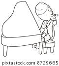 Cartoon Giraffe Playing a Piano 8729665