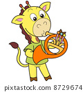 Cartoon Giraffe Playing a French Horn 8729674