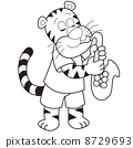 Cartoon Tiger Playing a Saxophone 8729693