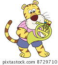 Cartoon Tiger Playing a French Horn 8729710