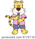 Cartoon Tiger Playing an Oboe 8729718