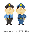 funny cartoon policeman, two colors 8731459