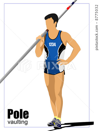 Athlete pole vaulting. Track and field. Vector illustration. 8775032