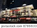 歌舞伎劇場 夜景 照亮 8786633