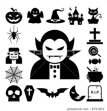 Stock Illustration: Halloween icon set.