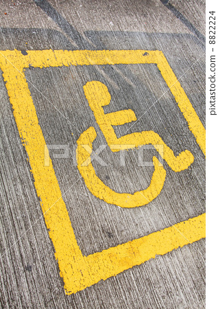 Disabled sign board on the way 8822224