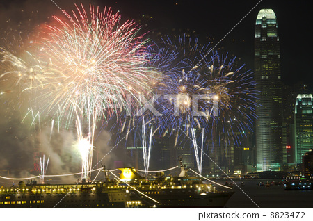 Hong Kong Chinese New Year fireworks along Victoria Harbour