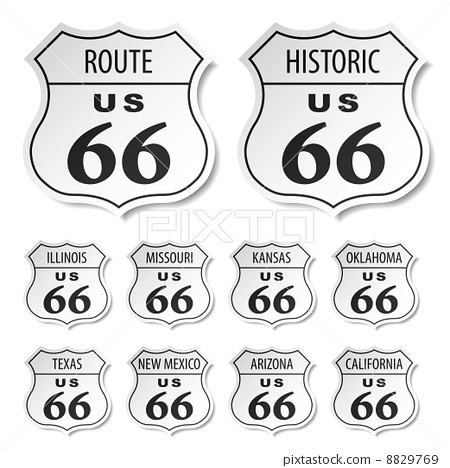 route 66 black and white stickers 8829769