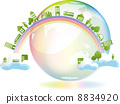 Earth, city and people across the rainbow Colorful 8834920