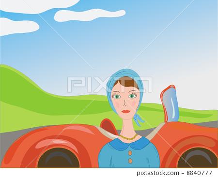 Woman near car in retro style 8840777