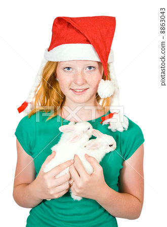 girl with pet rabbits 8863043