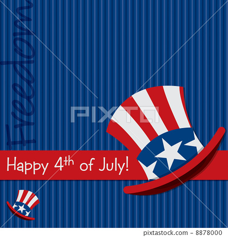 Patriotic Uncle Sam hat 4th of July card in vector format. 8878000