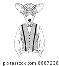 fashion illustration  of welsh corgi in cap 8887238