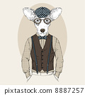 fashion illustration  of welsh corgi in cap 8887257