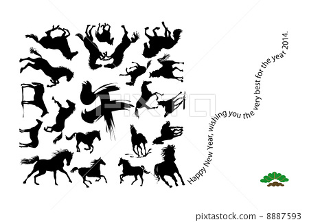 Horse illustration New Year's card template 8887593