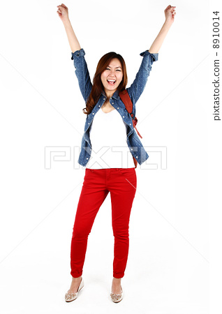 Portrait of young Asian studentjumping with joy, isolated on white background 8910014