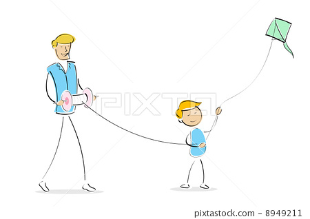 happy dad and son flying kite together 8949211