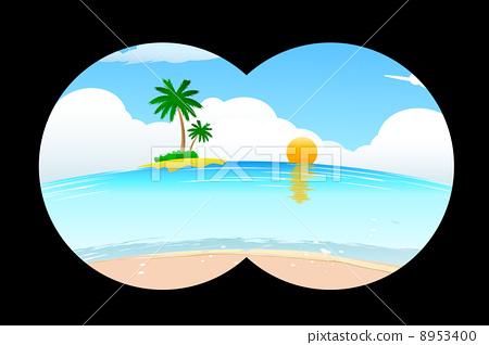 sea beach in binocular view 8953400