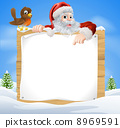 Christmas Snow Scene Santa Sign 8969591