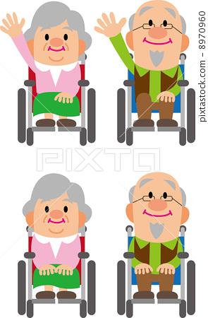 Elderly couple (wheel chair) 8970960