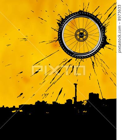 Bike wheel as the sun 8973633