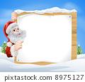Snow scene Christmas Santa Sign 8975127