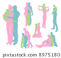 Happy family detailed silhouettes 8975180