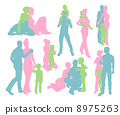 Happy family detailed silhouettes 8975263