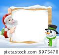 Santa Snowman Snow Scene 8975478