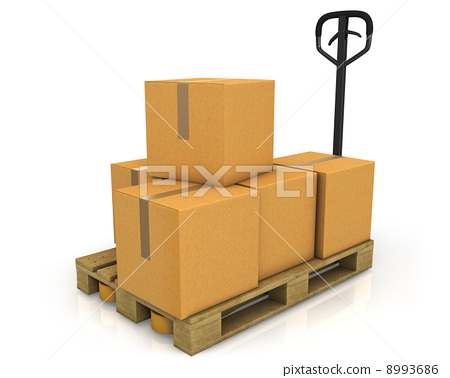 Stack of carton boxes on a pallet with a pallet truck 8993686