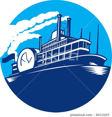 Steamboat Ferry Passenger Ship Retro 9012003