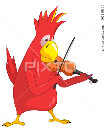 Funny Parrot. Violinist 9019925