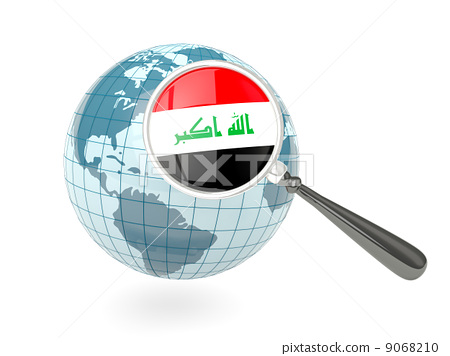 Magnified flag of iraq with blue globe 9068210