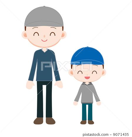 爸爸和兒子顏色不同的帽子 9071435
