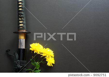 Japanese sword and yellow chrysanthemum flower (sword) 9092751