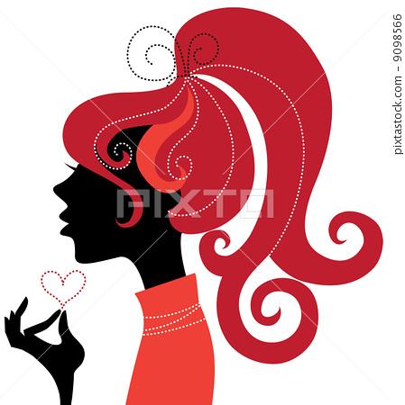 Beautiful girl silhouette profile 9098566