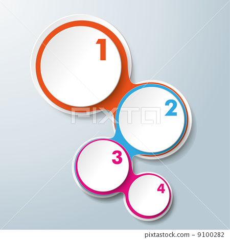 Infographic Design Colored Chains White Circles 4 Options 9100282