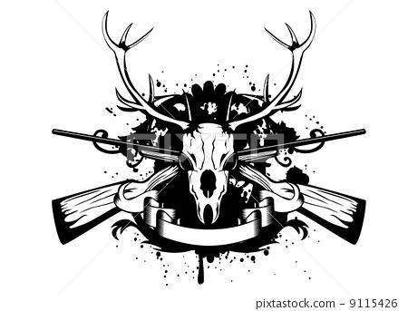 skull artiodactyl and crossed guns 9115426