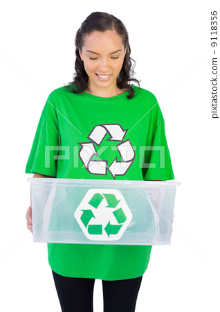 Brunette woman holding a recycling box 9118356