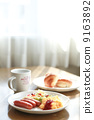 Light breakfast at a soft day's dining room 9163892