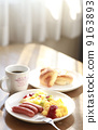 Light breakfast at a soft day's dining room 9163893