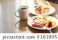 Light breakfast at a soft day's dining room 9163895