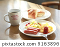Light breakfast at a soft day's dining room 9163896